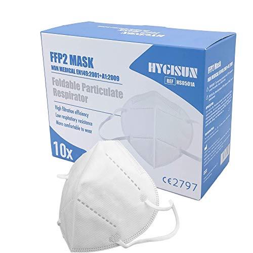 Mund und Nasenschutz [10x] FFP2 Maske KN95 DEKRA geprüfte DECADE Mundschutz Maske einweg Atemmaske, KN95 Maske EINZELVERPACKT, Atemschutzmaske ohne Ventil FFP2 Mundschutz
