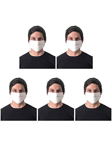 CALZITALY – PACK 5 PEZZI Fascia Protettiva Lavabile e Riutilizzabile, Tessuto Antibatterico, Protezione Naso e Bocca, Made in Italy (FASCIA, BIANCO)