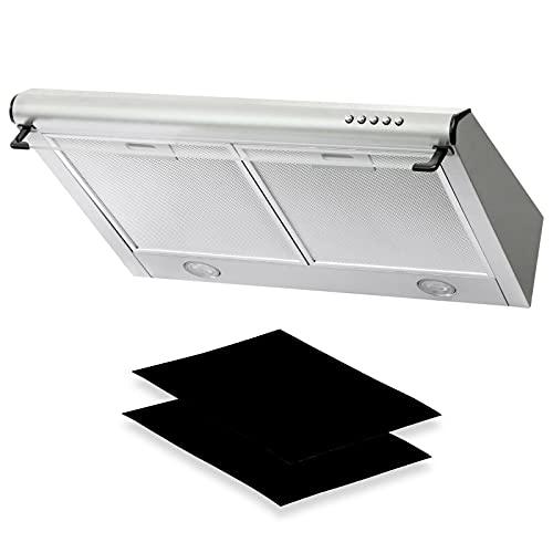 Dunstabzugshaube + Aktivkohlefilter Abzugshaube Dunst Unterbauhaube - Abluft/Umluft - 60 cm breit - Farbe: Silber - Edelstahlgehäuse - LED-Beleuchtung [Energieklasse C]