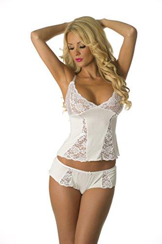 Velvet Kitten Lace Cami and Boyshort Panty 3210 Large White