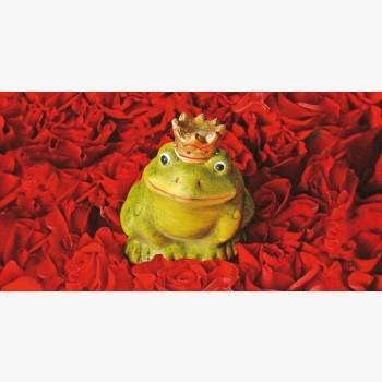 DeCoArt....Glückwunschkarte aus Puzzleteilen Frosch Froschkönig Rosen rote Rosen Puzzlekarte