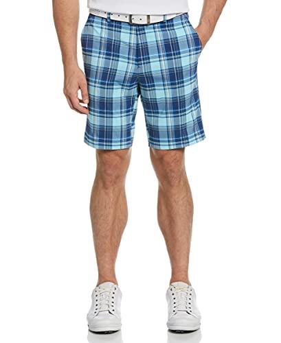 Jack Nicklaus Herren Madras Short with Active Waistband Golfshorts, Tanager Türkis, 34 Regular