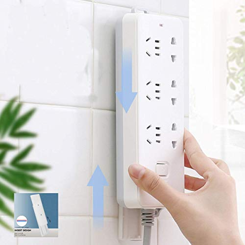 Leeonz Socket Power Board Holder, Wall Mount Bracket, self-Adhesive Non-Perforated Socket Holder, Seamless Magic Plug seat Sticker for Socket, WiFi Router (Set of 2pcs)