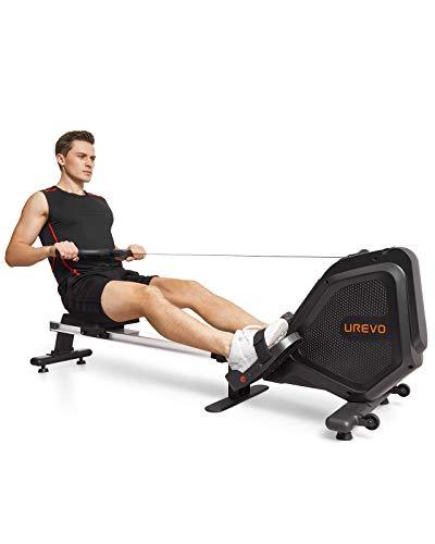 UREVO Foldable Rowing Machine Rower,Magnetic Row Machine Folding Exercise Rower with Aluminum Rail, LCD Monitor,8 Level Adjustable Resistance,265 lb Weight Capacity by UREVO