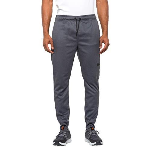 Reebok Men's Jogger Running Pants with Zipper Pockets - Athletic Workout Training & Gym Sweatpants (Medium, Ebony Heather)