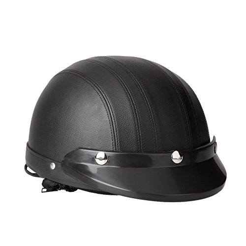 KKmoon Motorrad Scooter gesichtsoffen halbe Leder Helm mit Visier UV-Schutzbrillen Retro Vintage-Stil 54-60cm(Schwarz) - 8