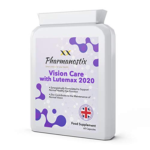 Vision Care with Lutemax 2020 60 Capsules - Lutein, Zeaxanthin, Bilberry and Pine Bark Along with an Essential Balance of Vitamins & Minerals Proven to Support Normal Eyes, Vision and Macular Health
