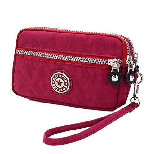 Morefashionland Cartera de embrague con 3 cremalleras impermeable de nailon para teléfono celular, bolsa de dinero para mujeres