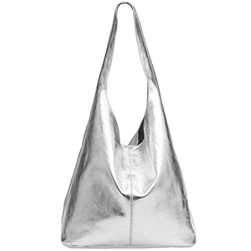 Caspar TL767 großer Damen Leder Shopper, Farbe:silber metallic, Größe:One Size