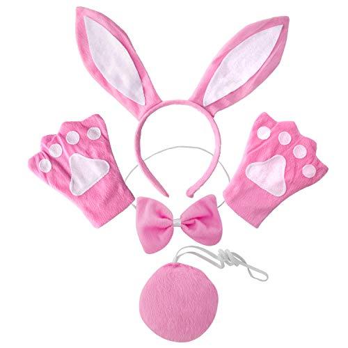 Czemo Fascia Orecchie di Coniglio di Peluche Cerchietto per Capelli per Bambini Ragazze Festa di Pasqua Decorazione Costume Accessori Coniglietto di Pasqua (Bianco e Rosa)
