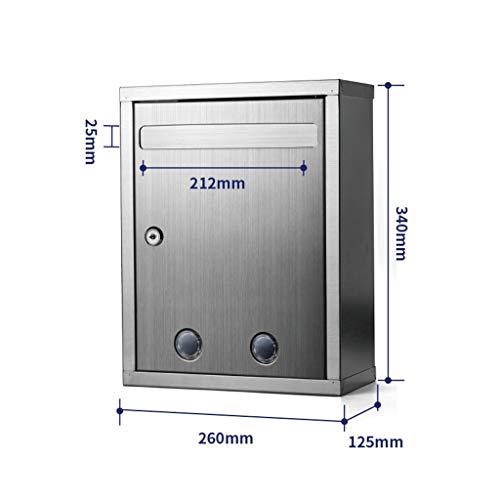 Cassetta Postale Di Grandi Dimensioni In Acciaio Inossidabile Con Serratura A Parete For Cassetta Dei Suggerimenti For Uso Esterno FKYGDQ
