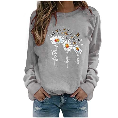 Xmiral Sweatshirt Pullover Damen Langarm Rundhals Gedruckt Lässiger Blusen Oberteile Herbst Winter Lose Warmes Bottoming Shirt(a-Grau,XL)
