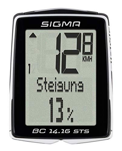 SIGMA SPORT BC 14.16 STS CAD Fahrradcomputer, schwarz, One Size