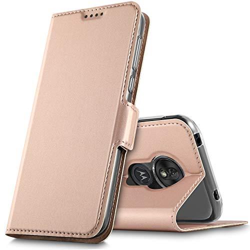 GeeMai voor Moto G7 play Case, Flip Case Pu Cover Kickstand Feature Card Slots Case voor Moto G7 spelen Smartphone.Rosegold