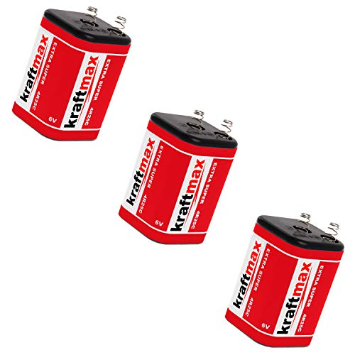 3X Kraftmax 4R25 Batterie Block - 6V / 9500mAh (9,5 AH) - 6 Volt Hochleistungs- Blockbatterie für z.B. Baustellenleuchte/Baustellenlampe/Blinklampe/Handscheinwerfer - 3 Stück