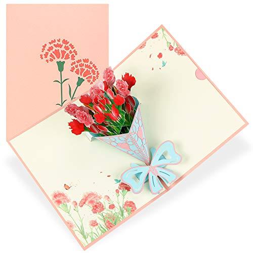Grußkarte,Muttertagskarte,Pop-Up Karte,DIY Glückwunschkarte,3D Geburtstagskarte,Grußkarten mit Umschlag,Liebe Mutter Nelkenstrauß,3D Blumenkarte für Mutter Bleib Gesund,Beste Geschenk für Mutter
