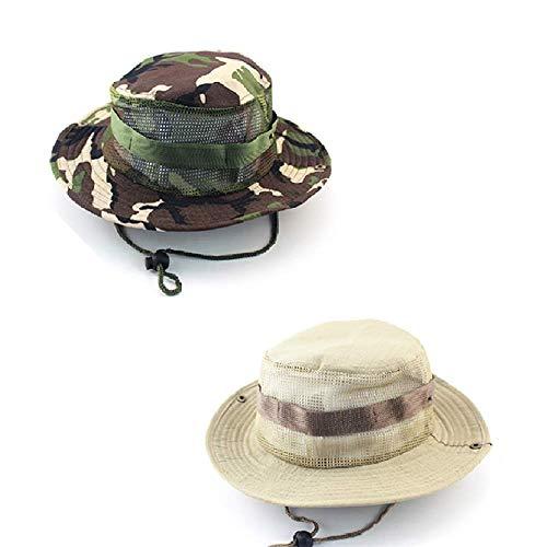 CAILI 2 Pack Outdoor-Hüte, Freizeit-Fischerhüte, Dschungelstifte, Outdoor-Angeln für Männer und Frauen beim Wandern von Camping-Rundhüten (Khaki, grüne Tarnung)