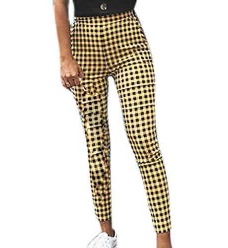 Pantalones a Cuadros para Mujer Pantalones Slim fit de Entrenamiento C