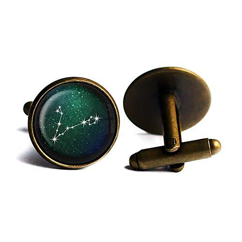 Zodiac Symbol Astrology Pisces Star Constellation Tierkreis Astrologie Fische Antike Bronze Manschettenknöpfe