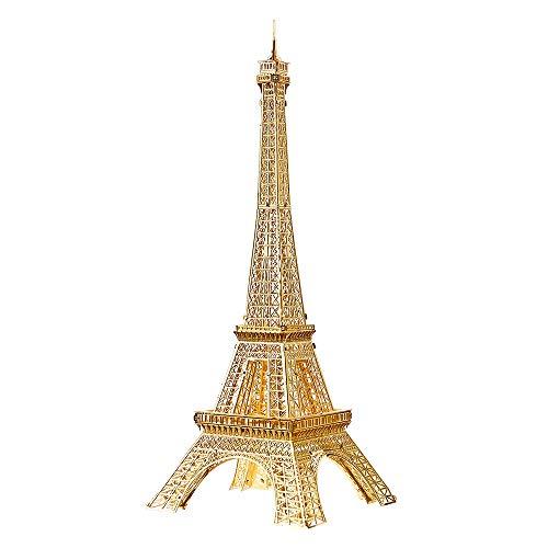 piececool Puzzle 3D cortado con láser tradicional famoso mundial, modelo de arquitectura de metal, para adultos, Eiffel TOWER 43 piezas (dorado)