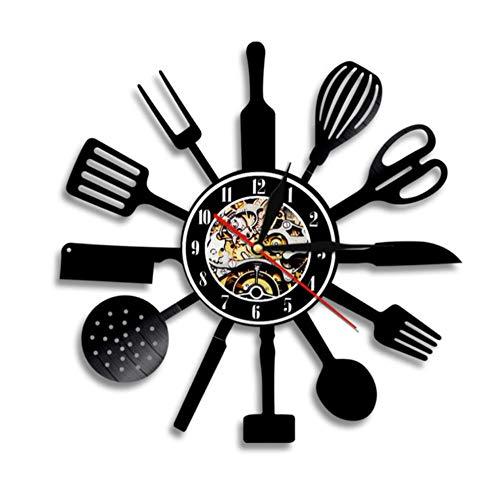 WVOVW Cubiertos de Cocina Disco de Vinilo Cuchara de Pared Tenedor Cuchillo Cocina Reloj de Pared Vajilla Reloj Foodie Gift Idea 12 Pulgadas