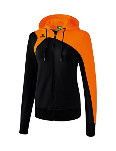 Erima Damen Club 1900 2.0 Trainingsjacke mit Kapuze, schwarz/Orange, 38