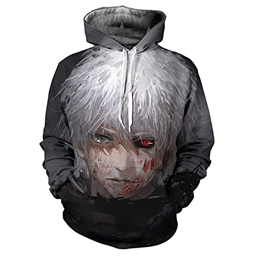 YZJYB Hombre Mujer 3D Tokyo Ghoul Anime Kaneki Ken Sudaderas con Capucha Hoodie Disfraz Pareja Divertida Jersey Adulto Tops Sweatshirts con Bolsillos,Multi Colored,XXX~Large