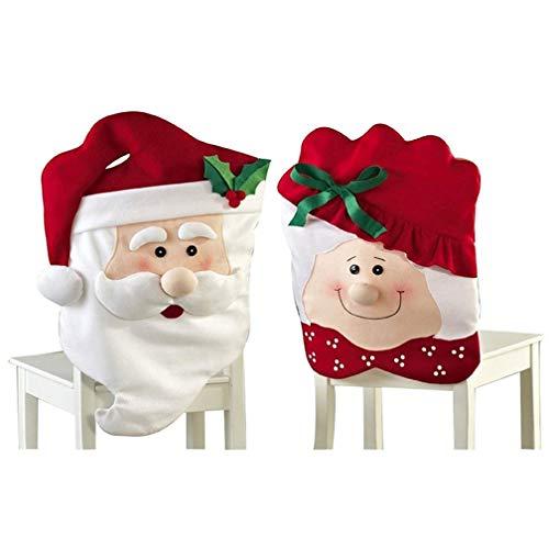 TMEOG Weihnachten Stuhlhussen Stuhlbezug für Stuhl Esszimmer, Entfernbar Stuhlhusse Stuhl Hussen Weihnachten Dekoration Bezug (Mr&Mrs Weihnachtsmann) (Mr&Mrs Santa, 44 * 74cm+44 * 54cm)