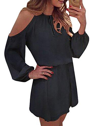 YOINS Sommerkleid Damen Kurz Schulterfrei Kleid Elegante Kleider für Damen Strandmode Langarm Neckholder A Linie Schwarz-1 EU44(Kleiner als Reguläre Größe)