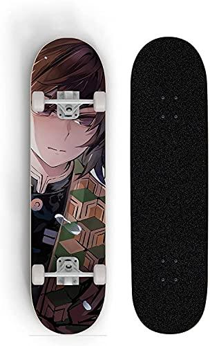 Nixi888 Anime Skateboard Skateboard Complete Skateboard Voll Doppel Fuß Cruiser Deck Longboard Skateboard, Geschenk für Kinder Jungen Mädchen Jugendliche für Demon Slayer