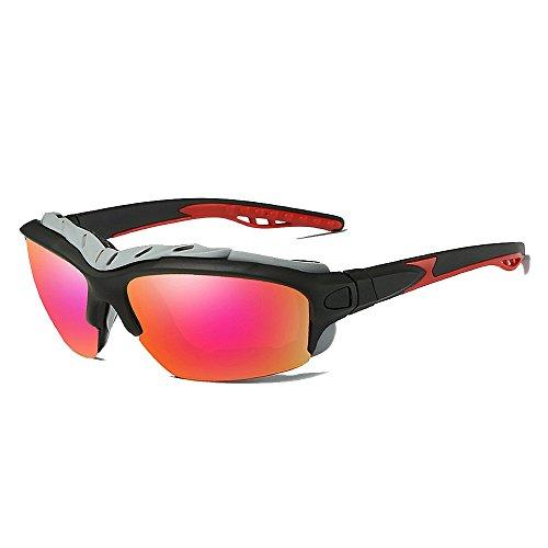 Belleashy Gafas de sol para ciclismo, protección UV400, tamaño grande, marco completo, polarizado, para conducir, ciclismo, correr, pesca, golf (color: rojo)