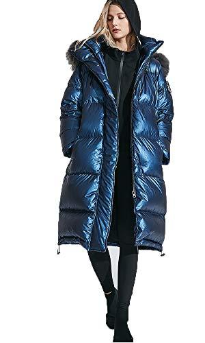 CAQQ Piumino Donna Cappuccio Donna Leggeri Cappotti Invernali Piumino Lungo Imbottito Piumino Imbottito Giacca Sportiva Calda Blu-Blue-L