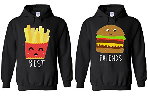 Best Friends Chips Burger Fries Couple Match Valentine Fun Novelty Black Men Women Unisex Hooded Sweatshirt Hoodie-M