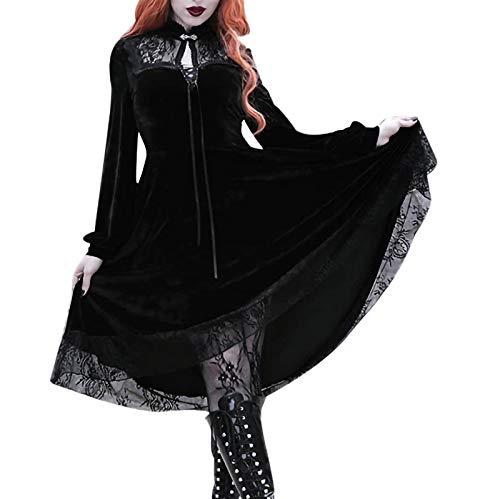 NHNKB Disfraz de bruja para mujer, vestido negro, disfraz gótico de Halloween,...