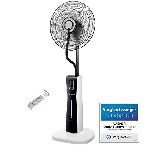 VASNER Stand-Ventilator Cooly – mit Wasser Ultraschall-Sprühnebel, Fernbedienung, Das Original, weiss schwarz, leise, Wasserkühlung, Nebelfunktion, Schlafzimmer