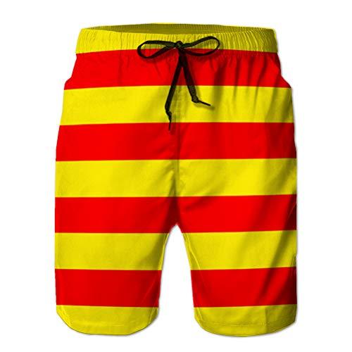 Xunulyn Shorts de Playa Divertidos para Hombre Pantalones Casuales Flag of Catalonia