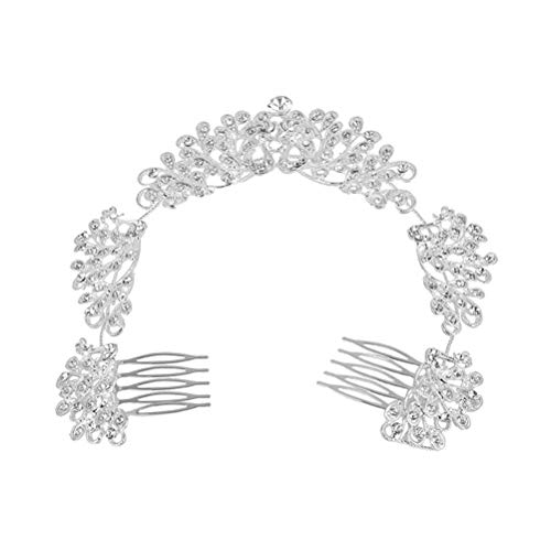 Lurrose Strass Weding Chaîne De Cheveux Peigne En Forme De Paon Mariage Casque Vintage Accessoires De Cheveux De Mariée