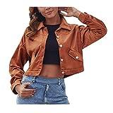 WFRAU Vintage-Hemdmantel für Frauen Einfarbige Reversjacke Eleganter Wollumhang mit hohem Kragen Damen-Langarmmantel mit Taschen Oberbekleidung Blazer Oberteile Bluse Regenmantel Strickjacke