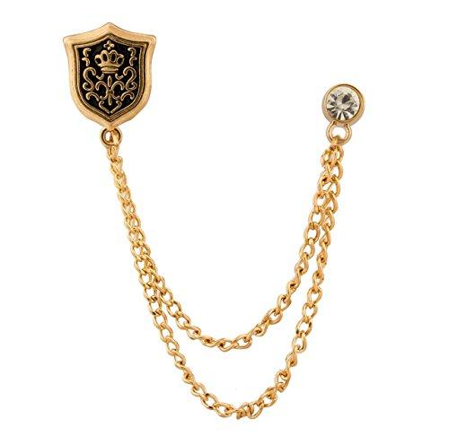 Knighthood - Spilla da uomo con scudo e Swarovski, colore: Oro