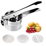 Food-Grade Stainless Steel Potato Ricer Masher, Baby Food Mill, Fruit and Vegetables Masher, Large Capacity, with 3 Interchangeable Discs, Easy to Clean