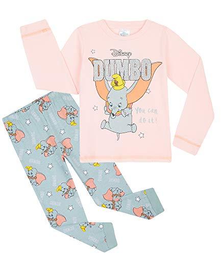 Disney Pijama Niña, Pijama Niña Invierno de Personaje Dumbo, Conjunto 2 Piezas Camiseta Manga Larga y Pantalon, Regalos para Niñas Edad 18 Meses - 12 Años (Rosa/Gris, 7-8 años)