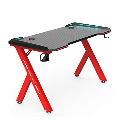 Dk116 Fabricante Mesa De Juego De Escritorio Computadora De La Tabla del Escritorio del Hogar del Juego De Empalme Tabla GD22S-R con Luz RGB (Color : Red, Size : 47.3x23.6inch)