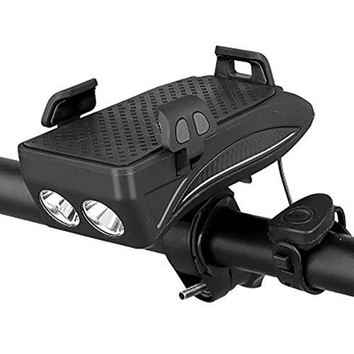 Santiling bicicleta luz delantera linterna bocina bicicleta campana teléfono titular cargador USB banco de energía multifunción 4 en 1 accesorios-4000_mAh_negro