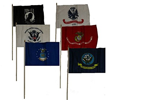 12x18 Military 5 Branches Army Navy Marines Air Force Coast Guard and Pow Mia Stick Flag Set 6 12'x18' Stick Flags.