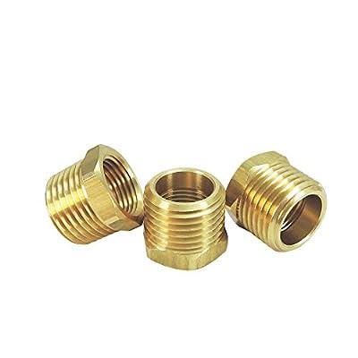 """NIGO Brass Pipe Fitting, Hex Bushing (3, 1/2"""" NPT Male x 3/8"""" NPT Female)"""