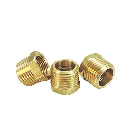 NIGO Brass Pipe Fitting, Hex Bushing, Nominal Pipe Size: 1/2' NPT Male x 3/8' NPT Female (Pack of 3)