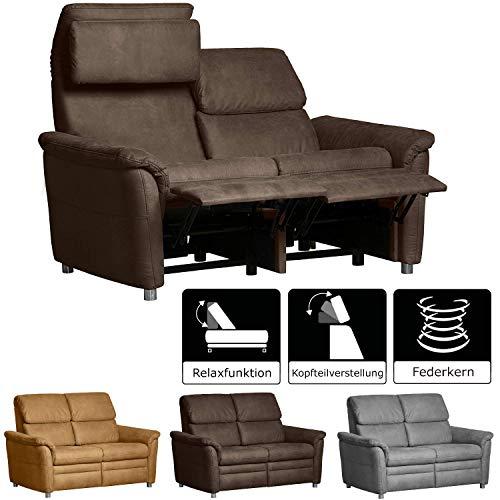 Cavadore 2-Sitzer Sofa Chalsay inkl. verstellbarem Kopfteil und Relaxfunktion/ mit Federkern / moderne Couch mit Liegefunktion / Größe: 145 x 94 x 92 cm (BxHxT) / Farbe: Braun (chocco)