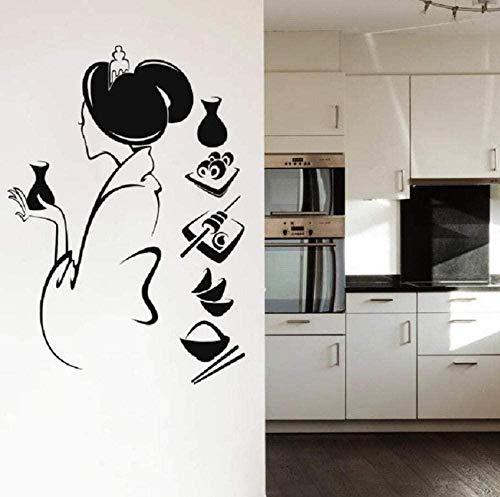 Geisha salon de beauté fille autocollant mural Creative stickers muraux décoration de la maison salon chambre cuisine art autocollants 57X82Cm