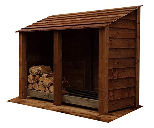 Arbor Garden Solutions Wooden Log Store 4Ft, Light Green (Natural) or Brown (1.49 cubic meters capacity) (W-146cm, H-126cm, D-81cm)