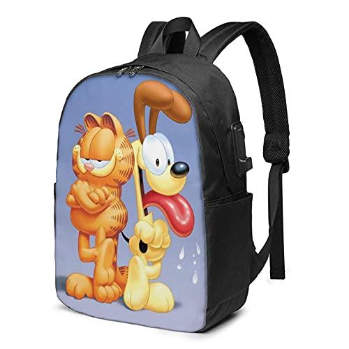 VJSDIUD Anime Poster Figure Cartoon Cute Dog Odie Cat Garfield Mochila Monedero con puerto de carga USB Unisex Senderismo Escuela Laptop Mochilas Bolsa de pañales para mujeres Hombres